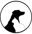 Composition of Dog and Cat Silhouettes vector image vector image