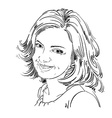 drawing of smiling sincere woman with stylish vector image vector image
