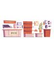 eco cosmetics store interior stuff and furniture vector image