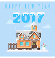 flat style of winter holiday house with snowman vector image vector image