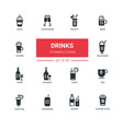 food theme alcohol and soft drinks - line design vector image vector image