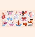 girl power female movement feminist symbols vector image
