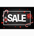 grey sale sign with gifts and candy vector image vector image