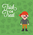 halloween character pirate costume on ghost vector image