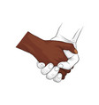 hand holding hand together vector image vector image