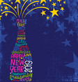happy new year 2019 champagne bottle stars vector image