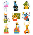 humanized animals different professions set vector image vector image
