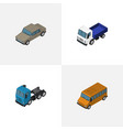 isometric transport set of lorry truck auto and vector image vector image