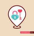 key and lock in heart shape pin map icon vector image