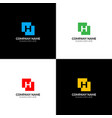 letter h in abstract square logo icon flat vector image