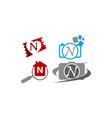 logotype n modern template set vector image vector image