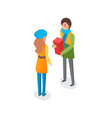 man talking to woman and holding present in box vector image vector image