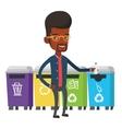 Man throwing away plastic bottle vector image vector image