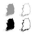 map of south korea icon outline set grey black vector image
