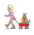 mother with children carriage walking with dog vector image