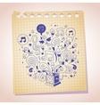 music box note paper cartoon sketch vector image vector image