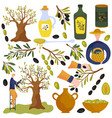 olive oil products isolated icons vector image vector image