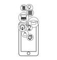 online education smartphone cartoon vector image vector image