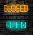 open and closed neon inscription light sign on vector image vector image