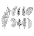 Ornamental Feathers in Handdrawn Style Vestor vector image vector image