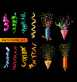 party popper set vector image vector image