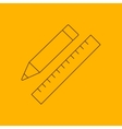 Pencil with ruler line icon vector image vector image