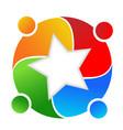 people teamwork forming a star shape logo vector image vector image