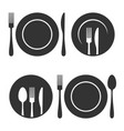 plate with fork and knife icons set on white vector image
