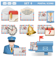 Postal Icons Set 9 vector image vector image