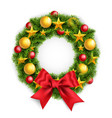 realistic christmas wreath with a big red bow vector image