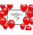red balloons for valentine day card vector image vector image