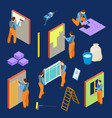 repair workers and tools isometric set vector image