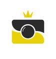 royal shot icon logotype camera wint crown vector image vector image