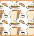 seamless pattern tile cartoon with bread and vector image