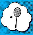 tennis racquet with ball sign black icon vector image vector image