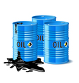Three metal barrels with oil vector image vector image