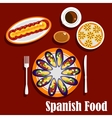 Traditional spanish seafood dishes and drinks vector image vector image