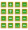 transportation icons set green vector image