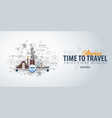 travel to america time to travel banner with vector image