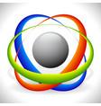 tricolor molecule atom icon vector image