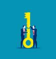 two business teamwork jigsaw keys together vector image