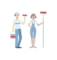 Two Volunteers With Painting Rolls vector image vector image