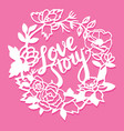 vintage paper cut silhouette love story floral vector image vector image