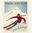 vintage skier getting ready vector image vector image