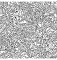 winter sports hand drawn doodles seamless pattern vector image vector image