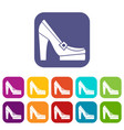 Women shoes on platform icons set