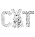 word cat for coloring decorative zentangle vector image vector image