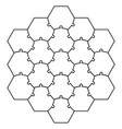 hexagonal jigsaw puzzle template puzzle vector image