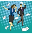 Man and woman dancing with paper documents flying vector image