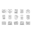 advertising channels linear icons set vector image